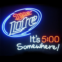 neon beer signs Coupons - New Star Neon Sign Factory 24X20 Inches Real Glass Neon Sign Light for Beer Bar Pub Garage Room Miller Lite It's 5 O'clock Somewhere.