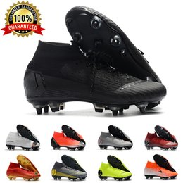 Sg preto on-line-Mens SG Futebol chuteiras Metal Studs Preto Superfly Elite Neymar High Top Outdoor chuteiras Ronaldo CR7 Mercurial futebol Grampos Botas