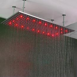 2019 luz de chuveiro alimentada a água Cabeça de Chuveiro grande Chuva de Teto SUS304 Escovado Precipitação 500 * 1000mm de Água Potência Chuveiros Com Chuveiro Braços de Luz LED chuveiros luz de chuveiro alimentada a água barato