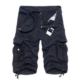 pantalones cortos de camuflaje para hombre. Rebajas Camo Militar Bermudas 2017 Camuflaje de Verano Pantalones Cortos de Carga de Algodón Suelta Pantalones Cortos Tácticos Sin Cinturón C19040101