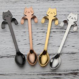 ECO Amigável Gato Bonito colheres De Chá De Aço Inoxidável Dos Desenhos Animados Colheres de Gato Sorvete Criativo Sobremesa Longa Lidar Com Chá De Café Colher de Mesa Cores de