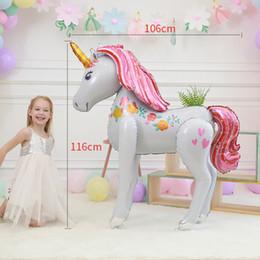 Globos 3d online-Juguetes Unicornio Globo Fiesta Decoraciones Suministros 3D Grande Unicornio Caminando Animal Foil Globos Cumpleaños de las niñas Tema Tema Decoración Favores 4908