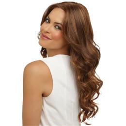 Echte lange haarperücken für frauen online-Binwwe Frauen langes lockiges wellenförmiges Qualitäts-hitzebeständiges goldenes blondes synthetisches als reale Menschenhaar-Perücken