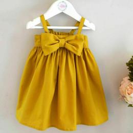 Chaleco amarillo del vestido del color del niño online-Cute Baby Girls Summer Sundress Bowknot Corto Mini Chaleco Toddler Kids Algodón Vestidos Casual Sin mangas Traje Amarillo
