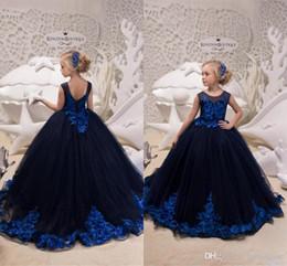 adcd1447ec730 robe formelle fille bleu marine Promotion Robes de fille de fleur bleu  marine adorable avec Royal