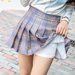 Menina spandex japão on-line-EUA tamanho manta saia cintura alta Japão escola menina uniforme saias esportes desgaste