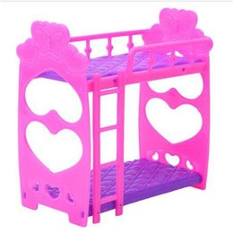 Ragazza giocattolo viola online-Struttura in plastica per letto matrimoniale per accessori per mobili per camera da letto per bambole Giocattoli da letto rosa viola per bambola Giocattolo per ragazze carine 3,5 pollici