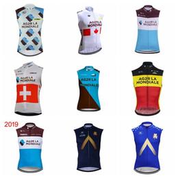 2019 equipo chaleco ciclismo 2019 AG2R Aqua Blue Men team Ciclismo Camiseta sin mangas Chaleco Mtb Ropa de bicicleta Ropa Ciclismo Verano carreras Camisetas de ciclismo Ropa de montar K031801 equipo chaleco ciclismo baratos
