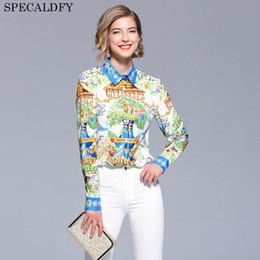mangas acampanadas Rebajas 2018 Diseñador de moda Runway Tops Blusas de mujer Camisa de manga larga de lujo impreso blusa para mujer Tops y blusas Camisa Feminina J190620