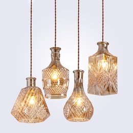 Lampes en verre vintage en Ligne-Pendentif bouteille de vin vintage minimaliste moderne s'allume CafeRoom / Bar lampe unique pendentif en verre lampes décoration éclairage intérieur E27