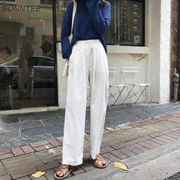 aad95cd14 Pants Women Solid Korean Clothing Female Loose All-match Trendy Womens  Button Leisure Capris Wide Leg High Pant Elegant Trousers