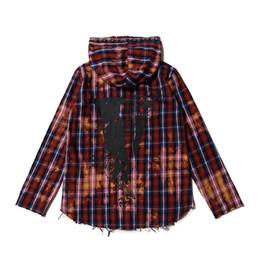 Lazos chinos online-Streetwear Caderas Marca Vlone dragón chino corbata tinta teñida rejilla vieja camisa de destrucción con capucha Para hombre sudadera con capucha Outwear