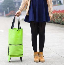 2019 sacos de compras rodas Leve Dobrável Saco De Compras com Rodas Dobrável Saco de Bagagem Traval Casa Reboque Dobrado Sacos de Armazenamento CCA10877 60 pcs desconto sacos de compras rodas