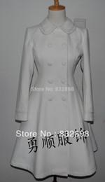 Cappotti bianchi di lolita online-Cappotto lungo di marca Lolita Gorgeous Sweet White Winter Wool Coat Cappa Girls Winter Cappotti