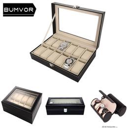 2019 relógio couro couro prata 3/6/10/12 slots de grade caixa de relógio de caixa de exibição relógio de jóias de couro preto pu de alta qualidade de prata banhado a caixa de relógio de botão relógio couro couro prata barato