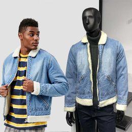 ce3da7b0e05 Hot Sale Mens Denim Jacket unisex Wash-scrub Blue Cowboy JACKETS zipper  Fake wool Thick Outwear Spring Fall Fashion Coats