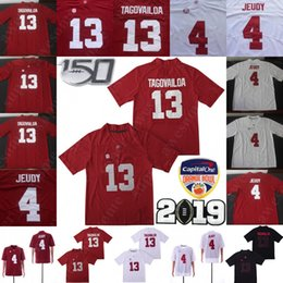 Patch du 150ème anniversaire de l'Alabama Crimson Tide 13 Maillot Tua Tagovailoa 4 Jerry Jeudy 22 Maillots de Football Najee Harris Rouge Blanc Noir ? partir de fabricateur