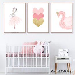 Pittura di cuore rosa online-Baby Room Pink Girl Poster Nordic Cartoon Swan Tela Pittura Cuore Wall Art Print Immagini Wall Decorazione Home Unframed