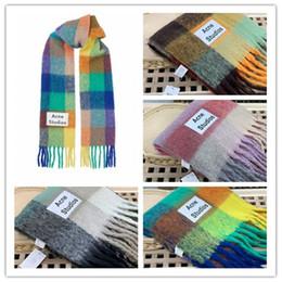 grade do arco-íris nova marca Acne Studios alta qualidade 4 cores de lã cachecol xale franjado para homens e mulheres de Fornecedores de embrulho de presente de férias por atacado