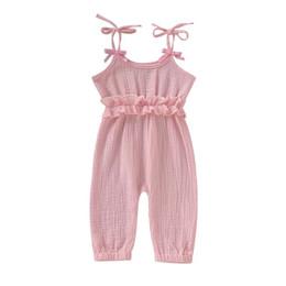 Deutschland INS Stilvolle Infant Baby Mädchen Overalls Strampler Sommer Design Blank Rüschen Kleidung Overalls Kleinkind Outfits Cotton Bodysuits Hosenträger 0-2 T cheap infant girls Versorgung