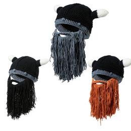 f05c1ac7156 Funny Crazy Halloween Cosplay Men Knit Viking Beard Horn Hat Ski Mask Cap  Barbarian Vagabond Cool Beanie Winter Warm Unisex Hat