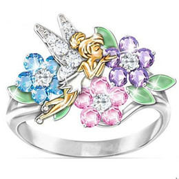 Diamants de fées en Ligne-Fantasy Flower Fairy Elf Cubic Zirconia Plating Princess Multicolor diamond Wedding Rings Jewelry Gift 423