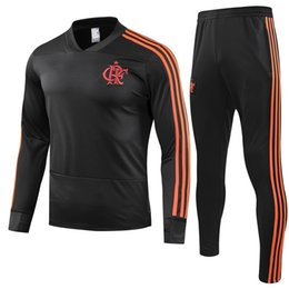 2019 uomo pantaloni xxl 2019 Flamengo Soccer Sweatershirt Pantaloni lunghi CRF Red Football Tuta 18 19 Flamengo RJ Training Top uomini Black V Collar Sports Suit uomo pantaloni xxl economici