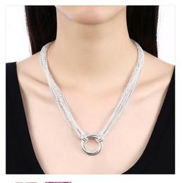 anillos de plata de ley para niños Rebajas Plateado collar de plata de ley 18 pulgadas multilínea collar de tres anillos DHSN264 Top 925 de placa collares de la joyería de ping pong, Graduado
