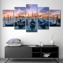 landschaftsmalerei boote Rabatt Leinwandbilder Home Wandkunst Dekor 5 Stück Blau Boat Seascape Paintings Seaside City Sunset Landscape Prints Poster Ungerahmt