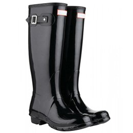 Canada Nouveau chaussures de pluie bottes hautes hautes filles garçons anti-dérapage genou bottines bottes de pluie noire eau femmes taille bottes DHL livraison gratuite Offre