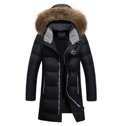 37b8ee65cd92c8 6xl größe lange wintermäntel jacken Rabatt Winter Neue Herrenmode Warme Lange  Daunenjacke Mit Kapuze Pelzkragen Weiße