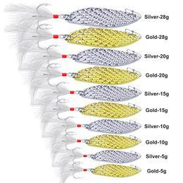 Canada 5pcs / set leurre de pêche sequin appât or argent crochet cuillère en métal leurre avec plume 5g 10g 15g 20g 28g mélanger les styles supplier style mix lures Offre