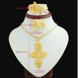 22k chapado en oro online-Cruz etíope Colgante / collar / arete / brazalete / anillo de gran tamaño Conjunto de joyas Eritrea Habesha Coptic 22k chapado en oro mujeres africanas