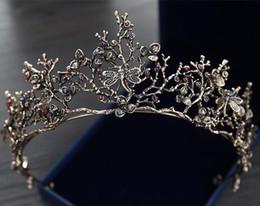 Vintage baroque coréen mariée couronne et diadèmes perlé filles femmes Proms soirée Brithday robe couronnes mariage cristal ornements coiffes ? partir de fabricateur