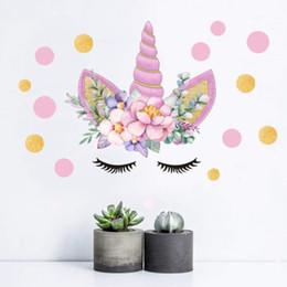 2019 etiquetas da parede das fadas da flor Romântico fada Unicorn Estrelas Adesivos De Parede Para Meninas Quarto Flores Decalques De Parede Das Crianças Quarto Dos Desenhos Animados Decor etiquetas da parede das fadas da flor barato