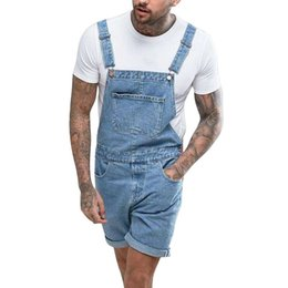 2020 macacões denim casual para homens New Summer New Men's Ripped Denim Shorts Vintage Distressed Bib Overalls Male Casual Suspender Bottoms Men's Jeans macacões denim casual para homens barato