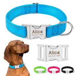 Collari di cane nylon personalizzati online-Collari su ordinazione dei cani di animale domestico del collare riflettente di nylon durevole su misura collare di cane per i piccoli cani di media grandezza