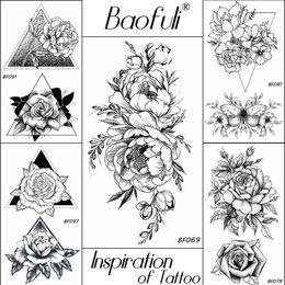 2019 тату кисть запястье БАОФУЛИ 20 стили женщины черные цветы татуировки переносимые поддельные 3D боди-арт татуировки шеи руки рукав Роза временная татуировка стикер