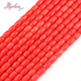 "Pulseiras de coral laranja on-line-8x10,7x10mm Coluna Liso Laranja Coral Beads Pedra Natural Beads Para Colar DIY Pulseiras Jóias Fazendo 15 ""Frete Grátis"