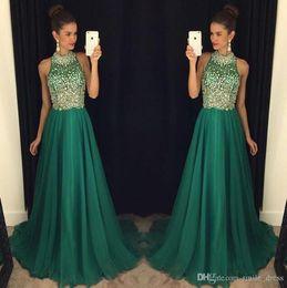 179f6fe3e19 2019 изумрудное шифоновое длинное платье Изумрудно-Зеленый Длинные Платья  Выпускного Вечера 2019 Линия Высокая Шея