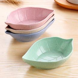 Pratos japoneses pratos on-line-Criativo Leavess Baby Kid Trigo Soy Molho de Soja Tigela de Arroz Sub-Plate Japonês Talheres Recipiente De Alimento C19042101