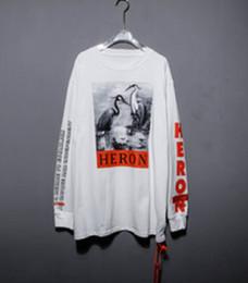 19ss alta qualidade Heron Preston preto e branco guindaste estrela camisola de impressão com a rua de manga comprida camisola T-shirt atacado de