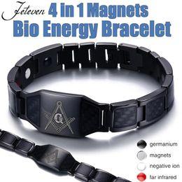 bio imanes Rebajas Negro 4 in1 Hombres Pulsera curativa magnética de acero Bio imán Cuidado de la salud brazalete Aliviar el dolor Anti Radiación Muñequera regalo