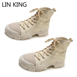 070cfe0d4bed LIN KING Top Quality Fashion Women Ankle Boots Lace Up High Top Martin Boots  Lady Round Toe Motorcycle Female Short Botas