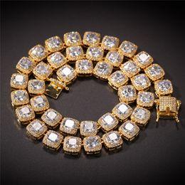 2019 collar de trébol de concha de oro 10 mm de Hip Hop Tenis Cadenas Bling collar de cadena de oro de los hombres de hielo fuera Cubic Zirconia diseñador Marca joyería de Hiphop del acoplamiento del diamante Collares