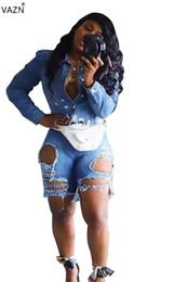 Сломанные джинсовые шорты онлайн-VAZN summer 2019 women hip hop wind broken hole pockets high waist personality comfortable light blue jeans short pants LA3108