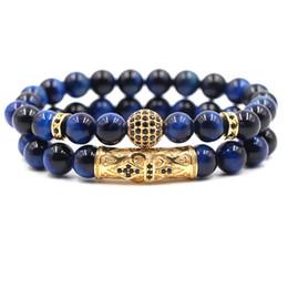 pietre blu per gioielli Sconti 8mm Blue Tiger Eye Stone 2pc / set 10mm Cubic Zirconia Ball Bracelet Designer di lusso Gioielli Bracciali Moda Donna Bracelects Uomo Regalo