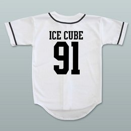 Pullover di cubo online-N.w.a. Ice Cube 91 White Baseball Jersey-