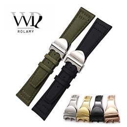 Нейлоновый ремешок для часов зеленый онлайн-Rolamy ремешки 20 21 22 мм черный зеленый нейлон Кожаный ремешок наручные часы полосы ремень развертывания Застежка Оптовая