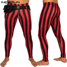 2019 leggings de yoga a rayas INCERUN Pantalones Rayados Hombres Slim Fit Cintura Elástica Tight Culturismo Moda Yoga-pantalones Pantalones Casual Hombres Joggers Leggings 2019 rebajas leggings de yoga a rayas